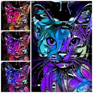 Cat Abstract Quad 1