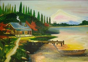 House on river bank