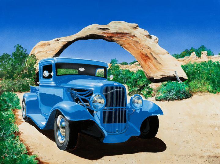 Cars & Arches-Old Blue - RM Auto Art