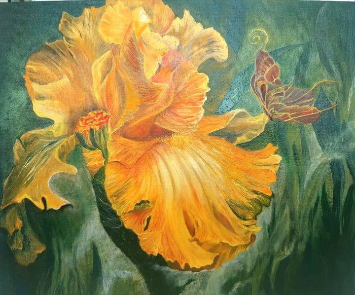 Butterfly on Iris flower - 1