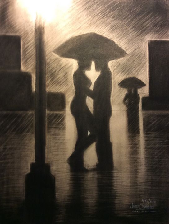 Lovers in the rain - magic city art
