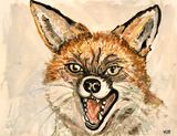 Original painting of a fox looking m