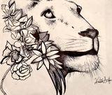 Lion w flowers