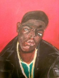 Biggie in Acrylic and Oils.
