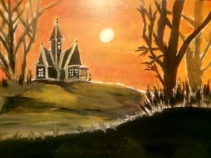 Witch by a Haunted House at Sunset.