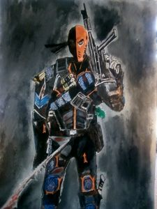 DeathStroke in Inks and Oil. Size A3