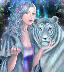 Woman and a white tiger