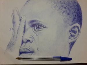 boy crying .. pen 21×29.5 cm