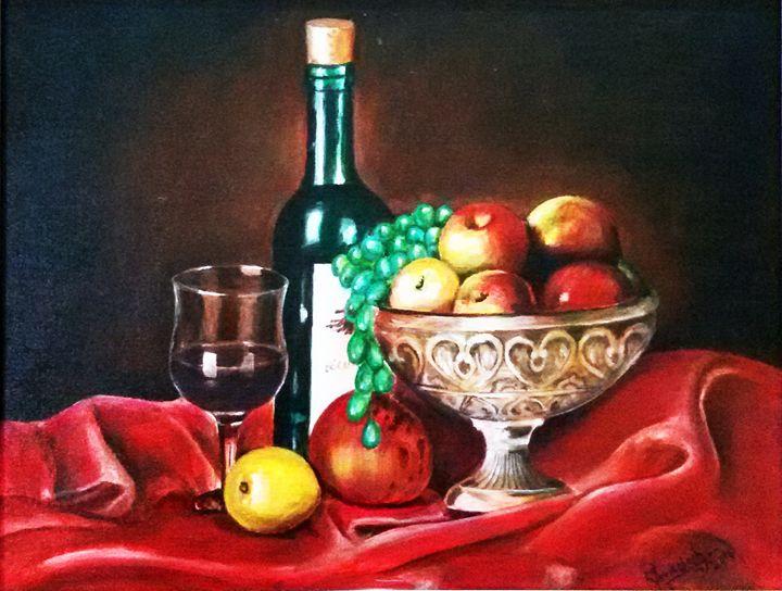 Still life 17 x 14 acrylic on canvas - Venkat Artist