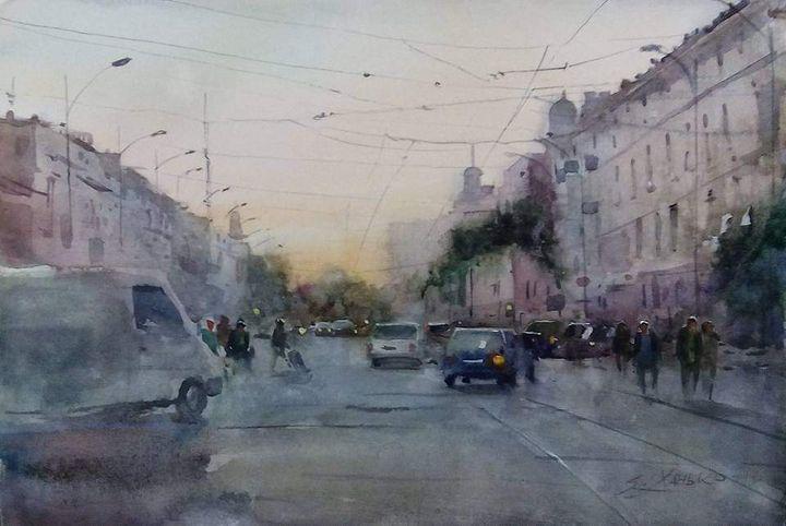 Sunset on Tiraspolska street. Odessa - Yaroslav Khanko