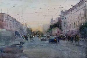 Sunset on Tiraspolska street. Odessa