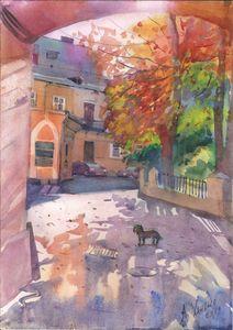 Sunny street of Odessa