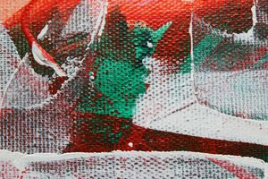 white abstract in green and red