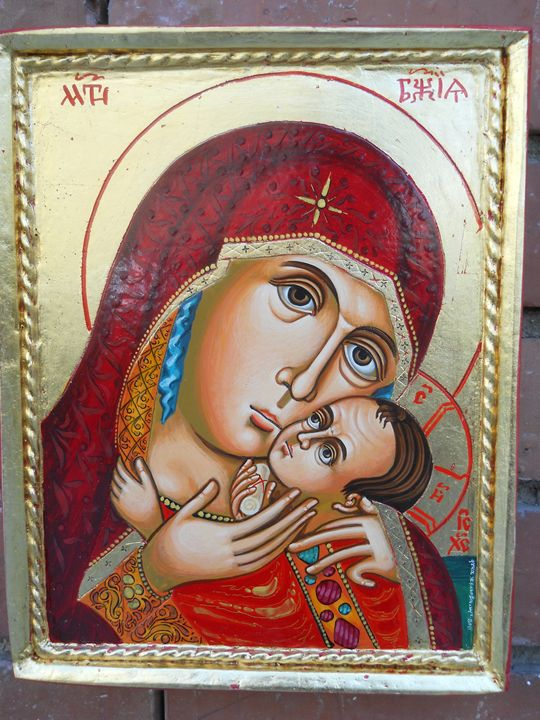 """Godmother with child-Eleusa - Orthodox icons"