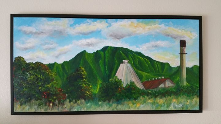 Waialua sugar mill and Mt. Ka'ala - Brad Wilke Fine Arts