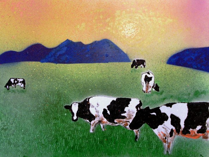 Cows in summer mist - George Hunter Contemporary Artist