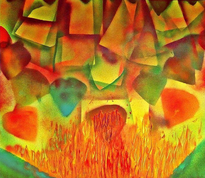 Love falling into flames of desire - George Hutton Hunter Contemporary Artist