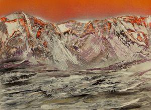 Frozen landscape at sunset