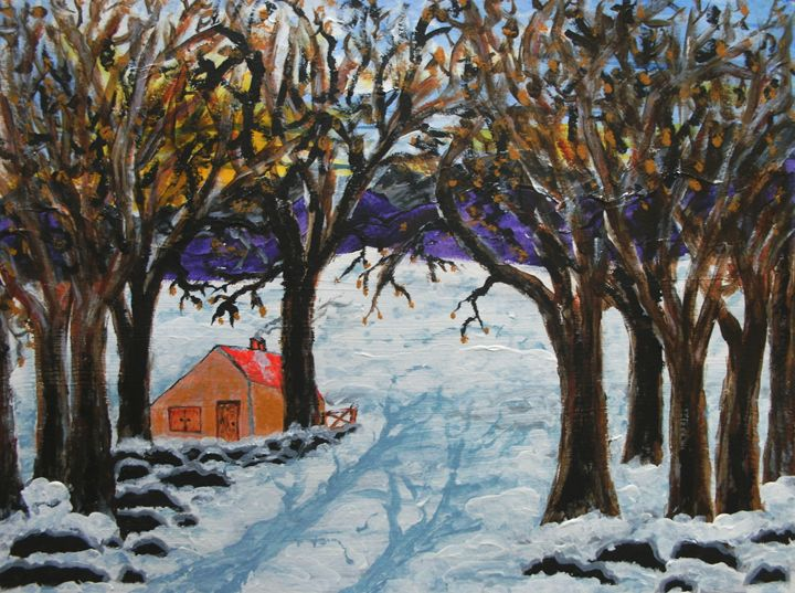 Cottage in the winter - George Hunter Contemporary Artist
