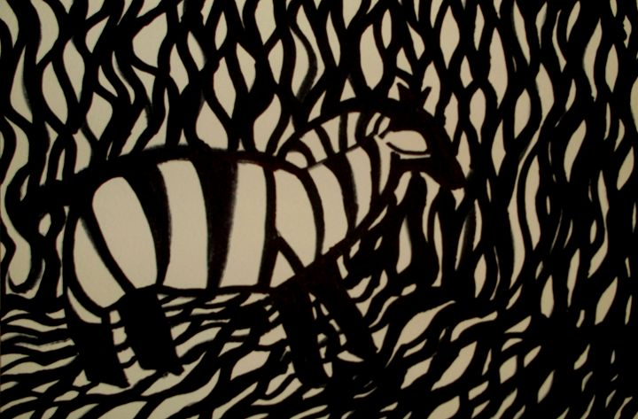Zebra in camouflage - George Hunter Contemporary Artist