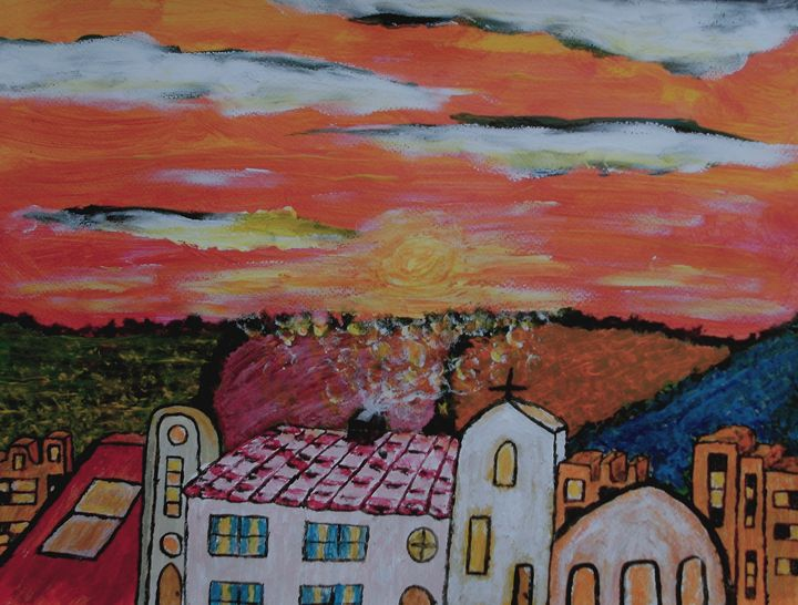 Village Sunset - George Hunter Contemporary Artist
