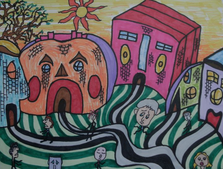 The Unhappy Village - George Hunter Contemporary Artist