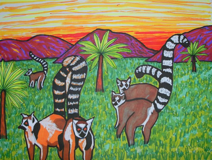 Lemurs in the grass - George Hunter Contemporary Artist