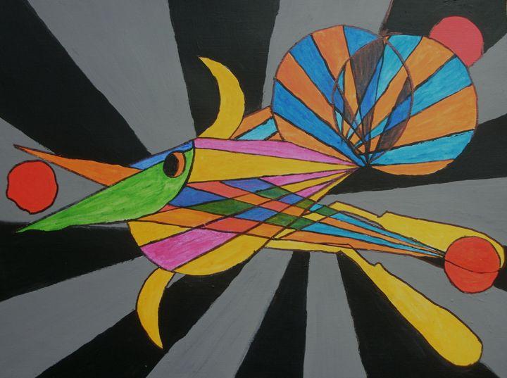 Bird in flight eating fruit - George Hunter Contemporary Artist