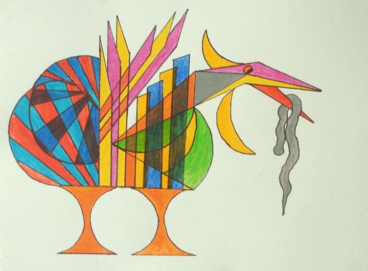 Bird standing eating worm - George Hunter Contemporary Artist
