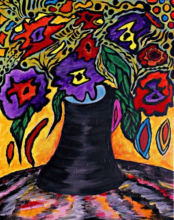 Black vase with flowers - George Hunter Contemporary Artist