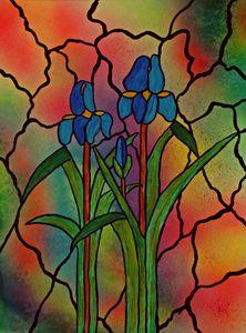 Irises in window