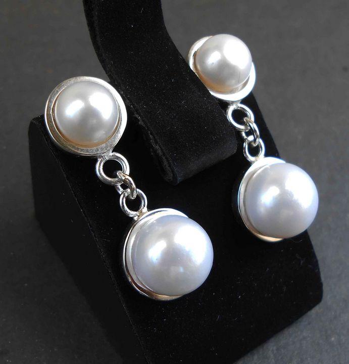 Handmade silver earrings with pearls - arthuris
