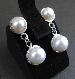 Handmade silver earrings with pearls