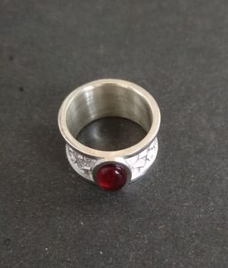 Handmade silver ring with red stone