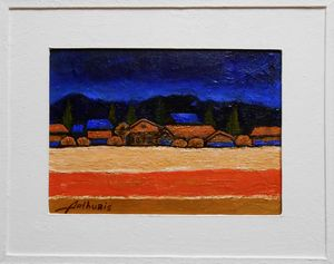 "Painting with frame ""Night landscape"