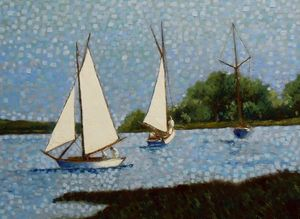 """White sails on the lake"" / SOLD"