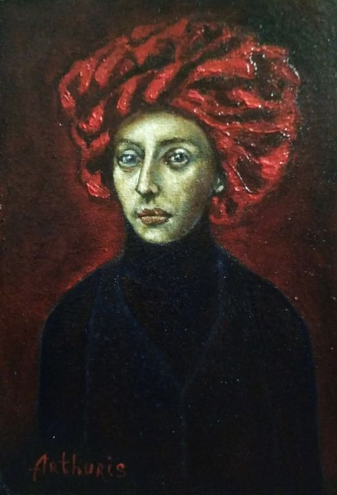Portrait of Woman in a Red Headdres - arthuris