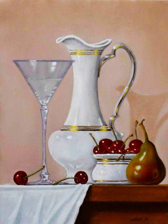 """Still life with pear and cherries"" - arthuris"