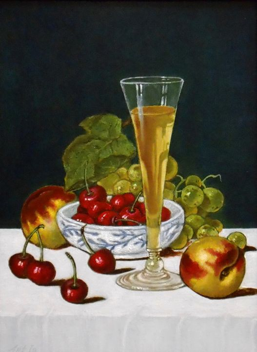 """""""STILL LIFE WITH GLASS OF WHITE WINE - arthuris"""