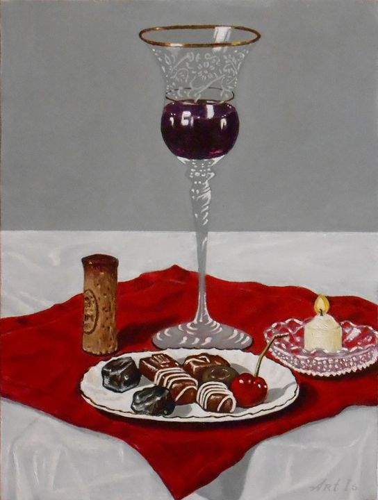 """RED WINE, CHOCOLATES AND A CHERRY"" - arthuris"