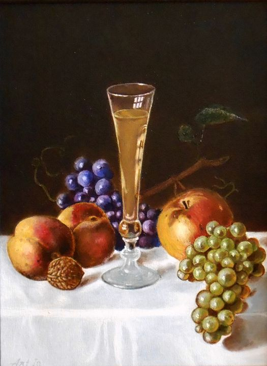 """STILL LIFE WITH WHITE WINE, APPLE, - arthuris"