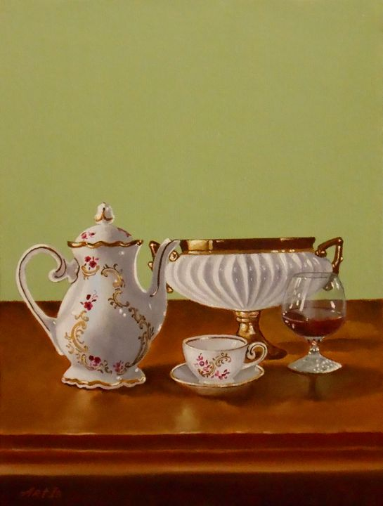 """COFFEE SERVICE AND GLASS OF COGNAC - arthuris"