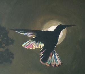 Bird with rainbow feathers