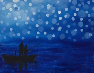 Dad & Son Fishing in a Dreamy Night