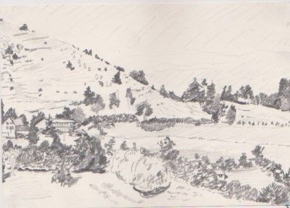 French Drawn Landscape 1990s - Ivyemaye