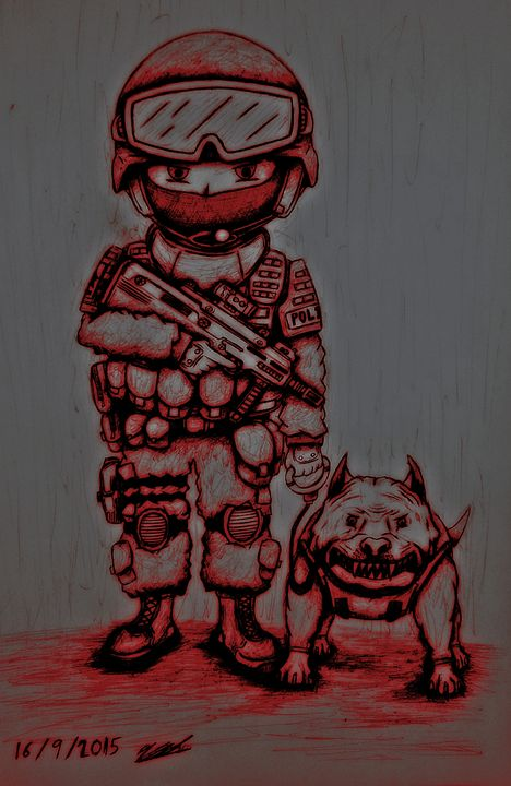 SWAT and angry dog (Reddened vers.) - My gallery...?
