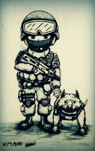 SWAT and angry dog