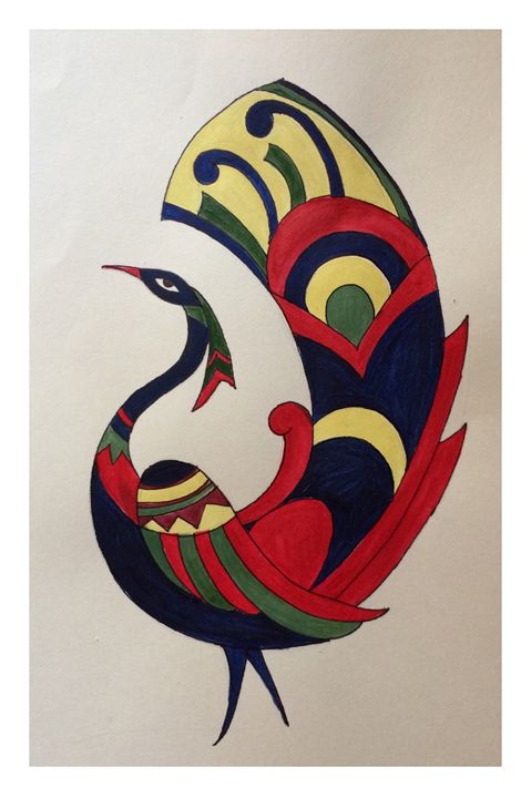 Peacock-acrylic on paper - Claykraft gallery