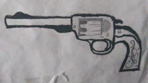 Black white hand gun