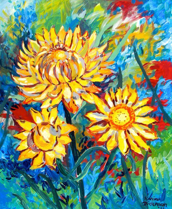 Golden Everlasting Daisies - Karima's Art